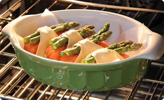 Salmon in Puff Pastry with Asparagus and Pesto