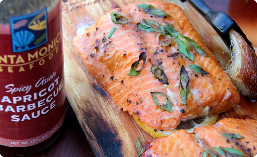 Steelhead Trout Grilled on Cedar Plank with SMS Apricot BBQ Sauce