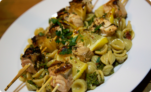 Salmon Skewers with Lemon and Pasta
