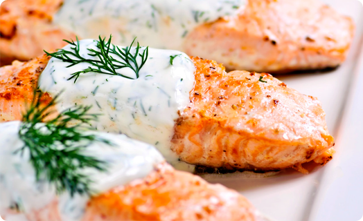 Salmon Baked with SMS Dill Sauce