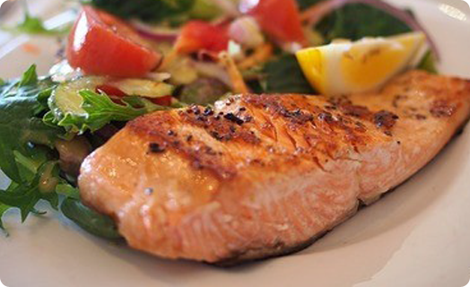 Salmon Grilled with a Side Salad