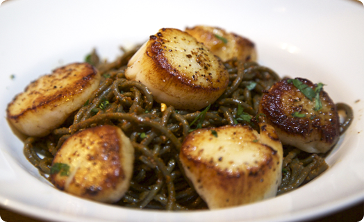 Scallops (Sea) Pan Seared in Butter with Tiberino Pasta
