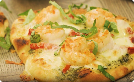 Shrimp and Naan Pesto Pizza