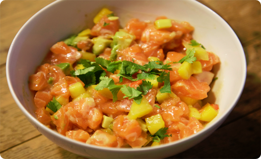 Steelhead Trout Poke with Mango Salsa