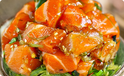 Steelhead Trout Poke with Seaweed Salad