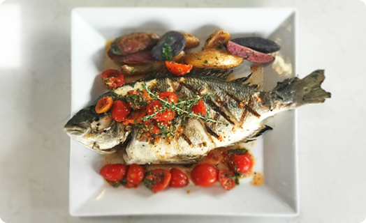 Gilt-Head Sea Bream with Basil Marinated Tomatoes
