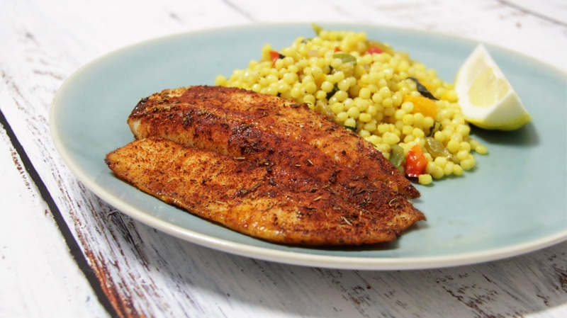 Tilapia – Blackened with Couscous Salad
