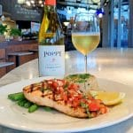 Grilled Salmon with a bottle of Poppy Chardonnay cm cafe