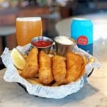 alaskan cod fish and chips with offshoot hazy ipa beer cm cafe