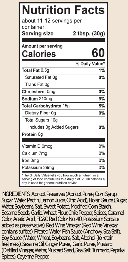 oz jar label SPICY ASIAN APRICOT BARBECUE SAUCE nutrition facts and ingredients