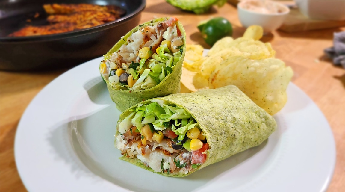 Spicy Tilapia Wrap with Bean Twist Salad
