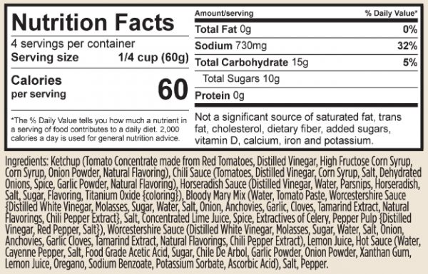 TRADITIONAL COCKTAIL SAUCE nutrition facts and ingredients