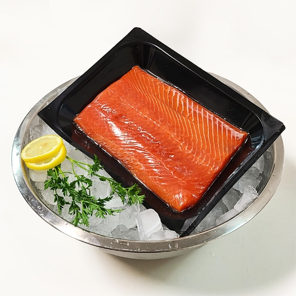 sockeye salmon portion in tray
