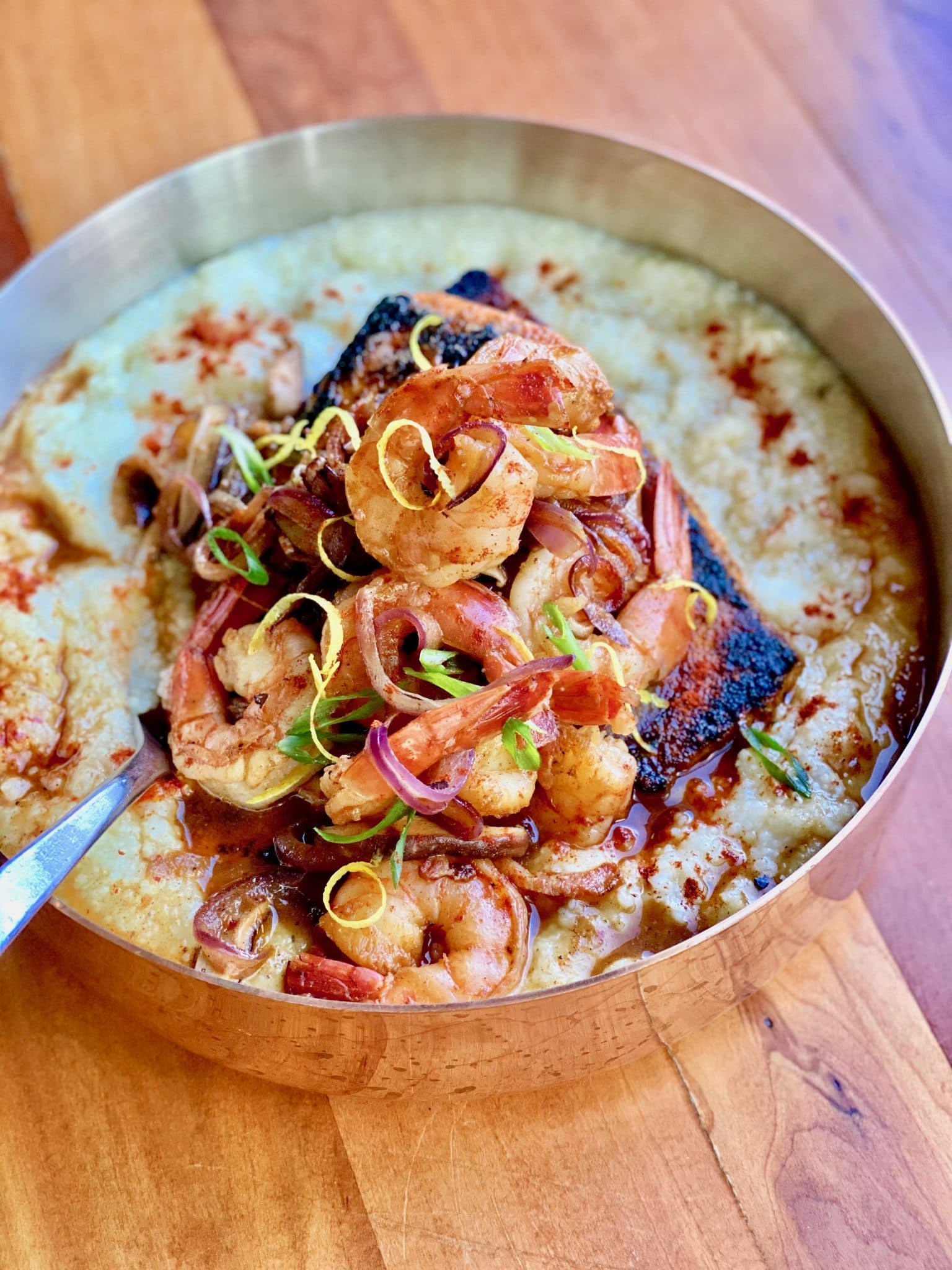 Blackened Salmon with Shrimp and Grits by Chef Emily Ellyn