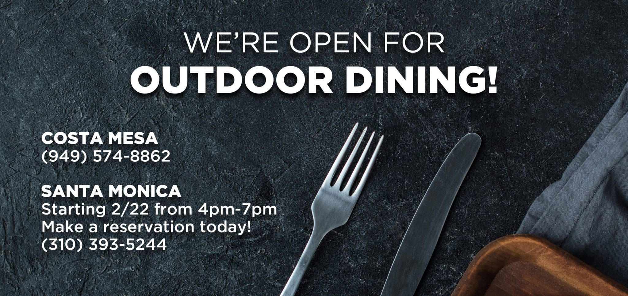 web banner open for outdoor dining